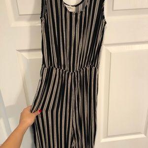 Long Black & White Striped JUMPSUIT